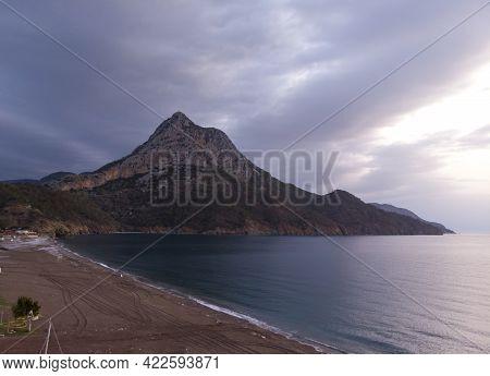 Aerial Shots Of Adrasan Beach At Sunrise. Seaside View From Adrasan Beach Along The Mediterranean Co