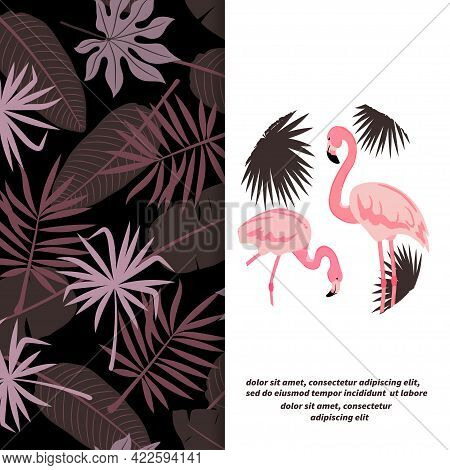 Flamingo Bird Vector Illustration. Tropic Background With Tropical Leaves.