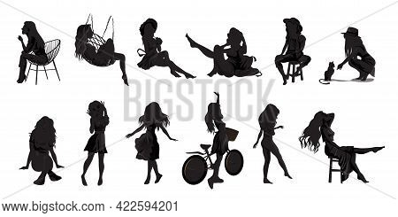Vector People Silhouettes Set With Beautiful Girls And Women. Office Girl And A Housewife. Yoga Girl