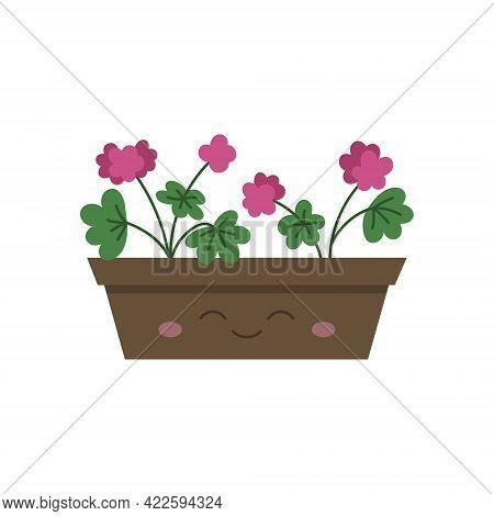 Happy Flower Box With Geranium Vector Illustration. Pelargonium Pink Flower In Flowerpot, Plant Pot.