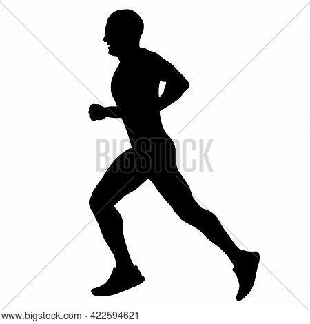 Male Runner Running Marathon Race Black Silhouette