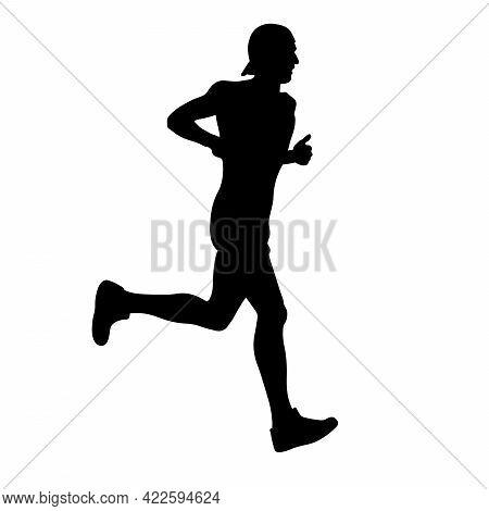 Male Runner Athlete In Cap Running Black Silhouette