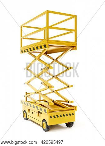3D rendering of yellow scissor lift on white background