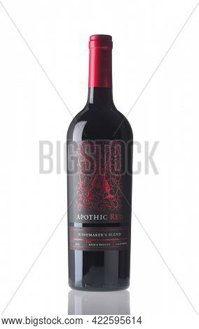 IRVINE, CALIFORNIA - 2 JUN 2021: A bottle of Apothic Red Winemakers Blend.