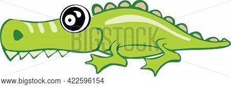 Alligator Or Crocodile Over The Sign. High Quality Illustration