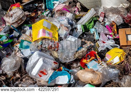 Pile Plastic Garbage, Trash Waste Many, Lots Of Plastic Waste, Pollution Waste