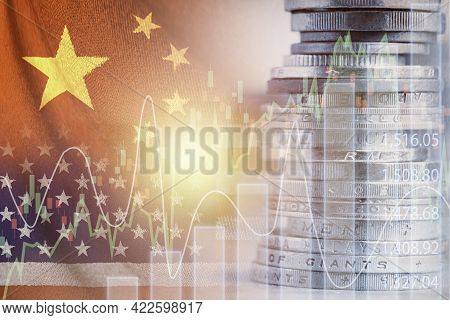 Double Exposure Of Usa And China Flag On Coins Stacking .it Is Symbol Of Economic Crisis During Tens