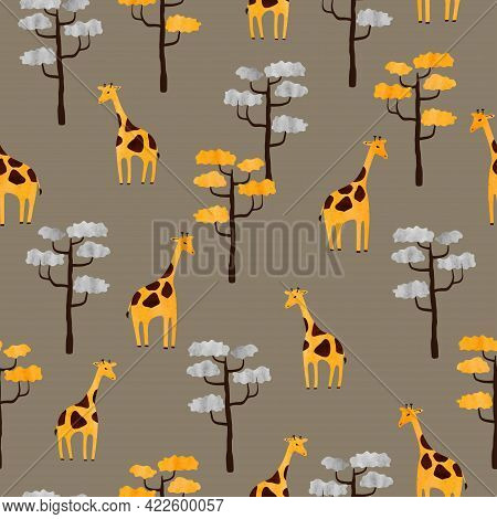 Seamless Africa Pattern With Cute Giraffes And Trees. Vector Illustration Of Savanna.