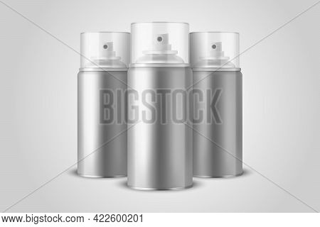 Three Vector 3d Realistic Silver Aluminum Blank Spray Can, Bottle, Transparent Lid Isolated. Small,