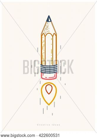 Pencil Launching Like A Rocket Start Up, Creative Energy Genius Artist Or Designer, Vector Design An