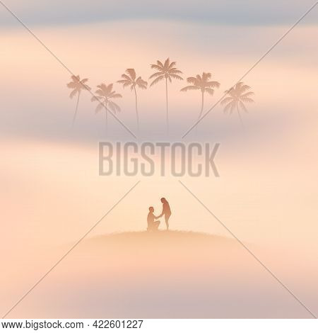Lovers Under Palm Trees. Romantic Marriage Proposal. Couple Silhouette