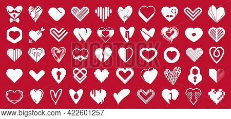 Collection Of Hearts Vector Logos Or Icons Set, Heart Shapes Of Different Styles And Concepts Symbol