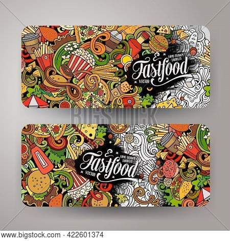 Fast Food Hand Drawn Doodle Banners Set. Cartoon Detailed Flyers. Fastfood Identity With Objects And