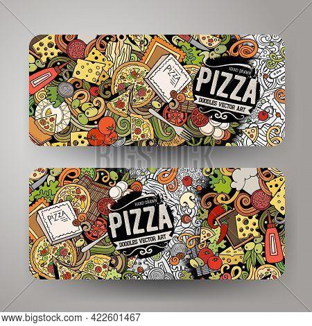 Cartoon Cute Colorful Vector Hand Drawn Doodles Pizzeria Corporate Identity. 2 Horizontal Banners De