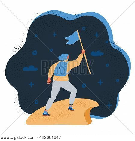 Vector Illustration Of Woman With Flag On A Mountain Peak On Dark Background.