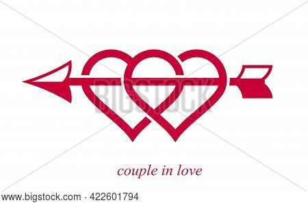 Double Two Hearts With Cupid Arrow From Bow Vector Icon Or Logo, Wedding And Couple Concept Romantic
