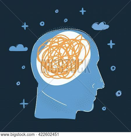 Vector Illustration Of Human Head, Mess Thought Inside On Dark Backround.