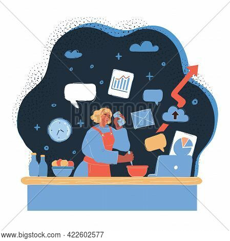 Vector Illustration Of Busy Mother Doing Simultaneously Many Tasks, Cooking, Working And Talking And