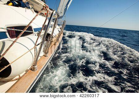 MEDITERRANEAN SEA, TURKEY- MAY 29: Boat Competitor During of sailing regatta Sail & Fun Trophy 2012 from Marmaris to Fethiye, May 29, 2012 in the Mediterranean Sea, Turkey.