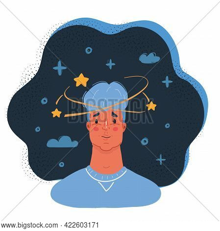 Vector Illustration Of Young Man With Pensive Expression And Brain Messing