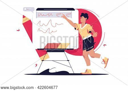 Guy Highlight Letters On Board Vector Illustration. Man Share Opinion, Point Of View On Whiteboard F