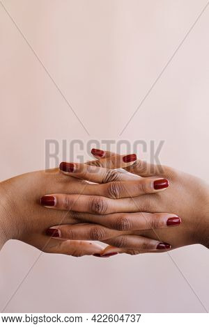 Clasping hands gesture closeup mockup