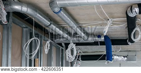 Electrical Wiring And Air Ventilation Duct System Installation In Building