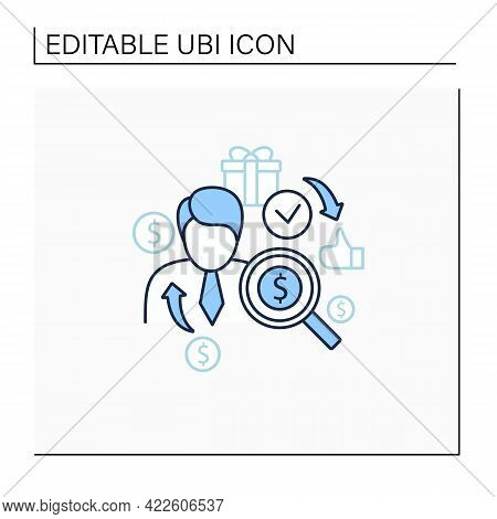 Individual Payment Line Icon. Portion Of Total Payout Amount. Personal Deposit.universal Basic Incom