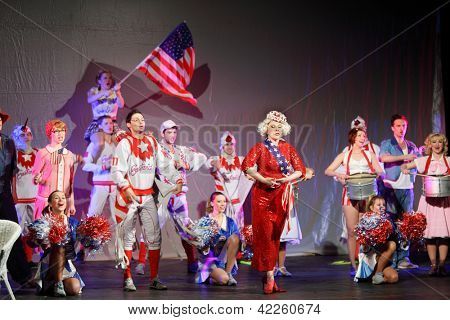 MOSCOW - JANUARY 27: Actors sing at Musical Witches of Eastwick in Palace on Yauza on January 27, 2012 in Moscow, Russia.