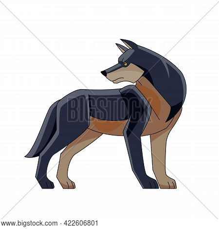 Scary Dark Wolf Or Timber Wolf Standing And Looking Back. Wildlife Scene. Cartoon Character Of A Dan