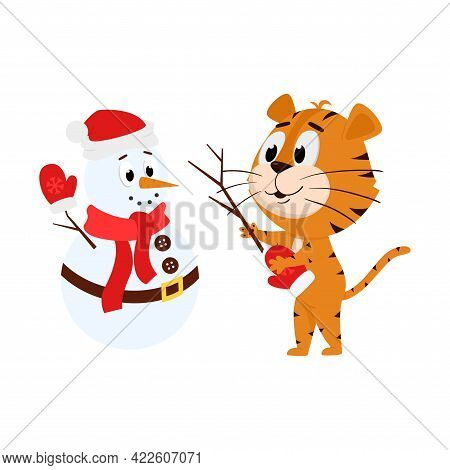A Tiger Makes A Snowman. Cute Cartoon Character. The Tiger Is The Symbol Of The Year 2022. Vector Il