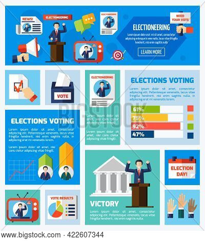 Elections And Voting Flat Rectangular Isolated Elements Collection With Promotional Company Voter Co