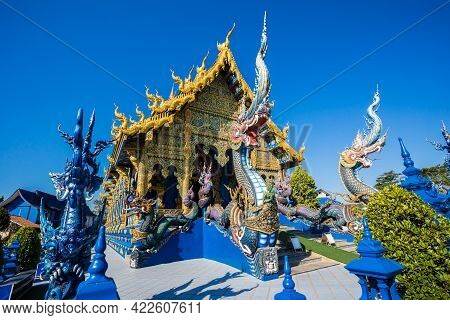 Beautiful Of Blue Temple Wat Rong Sua Ten The Amazing Temple At Chiangrai Thailand