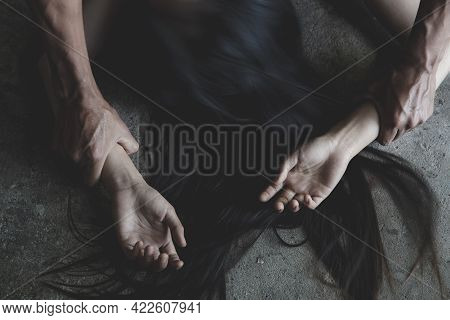 Sexual Abuse With A Man Attacking To A Scared Woman, Domestic Violence Against A Woman, Stop Violenc