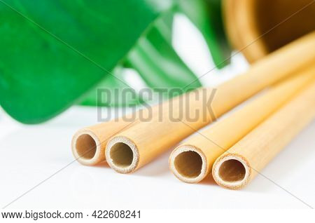 Bamboo Drinking Straws And Green Leaves With Zero - Waste. Eco Friendly Concept.