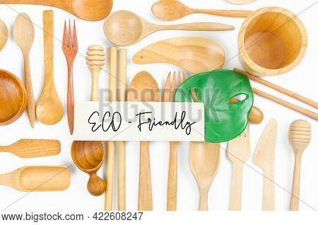 Eco-friendly, Set Of Wooden Utensils On White Background.