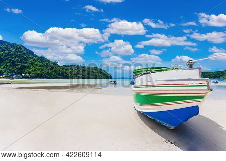 Landscape Of Speed Boat In Phi Phi Island With Blue Sky Background At Phuket, Thailand.