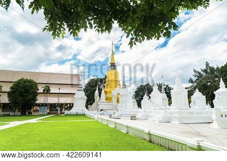 Suan Dok Temple, Wat Suan Dok (monastery) With Blue Sky In Chiang Mai, Thailand
