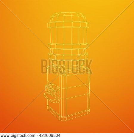 Water Cooler With Full Bottle. Refreshment Office Concept