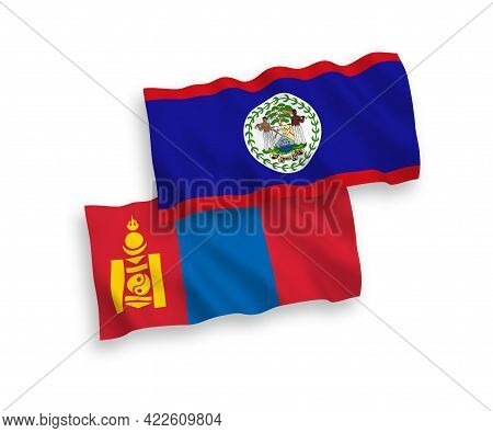 National Fabric Wave Flags Of Belize And Mongolia Isolated On White Background. 1 To 2 Proportion.