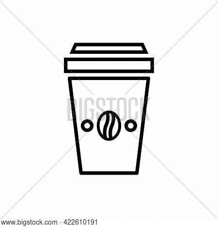 Disposable Paper Coffee Cup To Go With Violet Heat Prevention Carton With Coffee Beans Black Icon. I