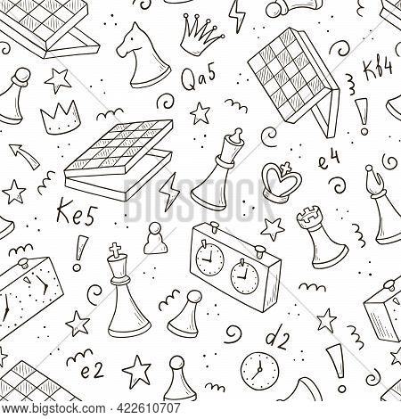 Hand Drawn Seamless Pattern Of Cartoon Chess Game Pieces. Doodle Sketch Style. Isolated Vector Illus