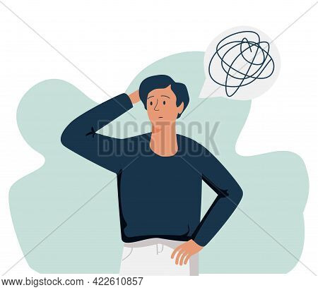 Vector Illustration, Support Concept For Those Who Are Under Stress, Young Man In A State Of Depress