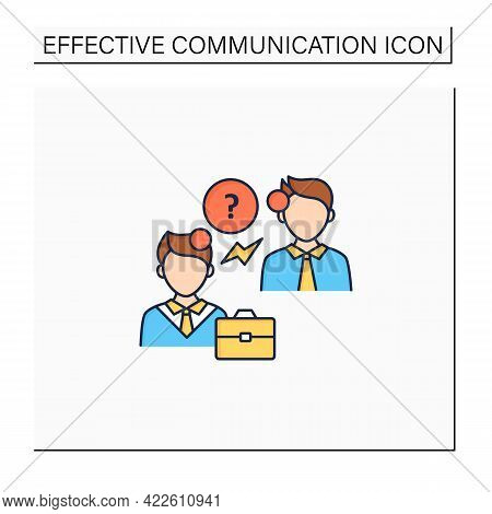 Asking Questions Color Icon. Questioning. Eliciting Information. Effective Communication Concept. Is