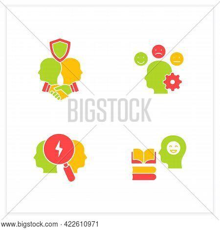 Conflict Management Flat Icons Set.teaching Positive Behaviors, Building Trust, Managing Emotions, C