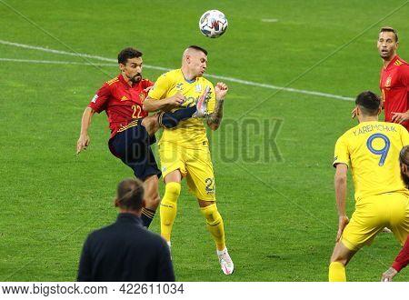 Kyiv, Ukraine - October 13, 2020: Jesus Navas Of Spain (l) Fights For A Ball With Oleksandr Zubkov O