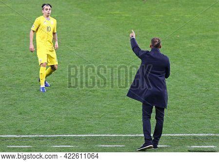 Kyiv, Ukraine - October 13, 2020: Ukrainian Manager Andriy Shevchenko In Action During The Uefa Nati