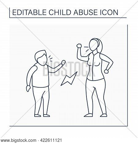 Relationship Difficulties Line Icon. Luck Of Trust. Scandal. Maintaining Relationships In Adulthood.