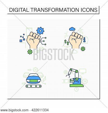 Digital Transformation Color Icons Set.industry 3.0, Industry 2.0, Information Revolution, Cyber Rev