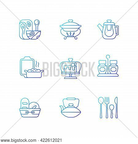 Trendy Tableware Gradient Linear Vector Icons Set. Specially Designed Kitchenware. Forks, Knives And